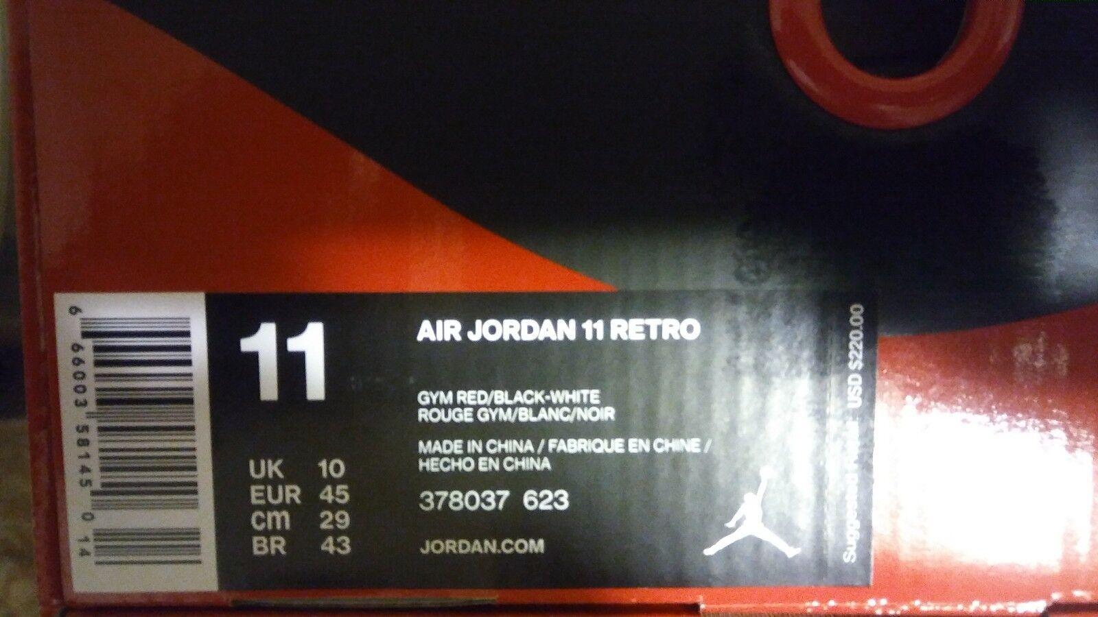 Nike air jordan retrò 11 xi vincere come 96 palestra red taglia 11