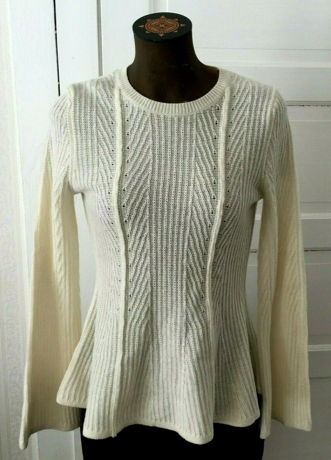 Ann Taylor Loft Women's Wool Cable Knit Sweater Top Size S Ivory Long Sleeves