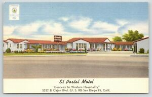 San-Diego-CA-El-Portal-Carpeted-Motel-El-Cajon-Blvd-Rt-80-Soft-Water-Linen-50s