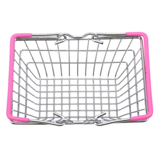Mini Shopping Basket Kids Play Toy Cart Supermarket Desk Tidy Storage Chrome S
