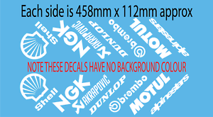 Motorcycle belly pan sponsor graphics decals x 14 Full Colour