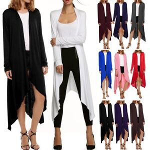 Women's Open Front Draped Asymmetric Maxi Long Cardigan Sweater ...