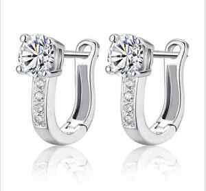 Women-039-s-Harp-CZ-Crystal-Ear-Hoop-Stud-Huggle-Earrings-Silver-Plated-Wedding-Gift