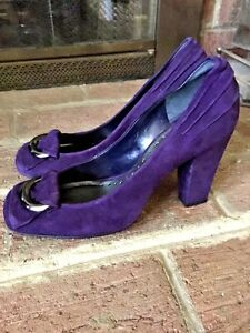 BCBG-GIRLS-Purple-LEATHER-SUEDE-WOMENS-HIGH-HEELS-Platforms-Wedges-SHOES-Sz-6-5