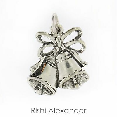 Sterling Silver 3D Christmas Or Wedding Bells Dangle Charm Bead For Bead Charm Bracelet With Bow