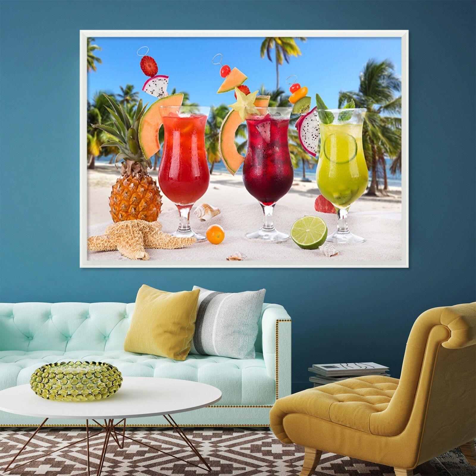 Cartel enmarcado 3D bebida frutal 4 Decoración del Hogar Pintura de Impresión Arte AJ Wallpaper