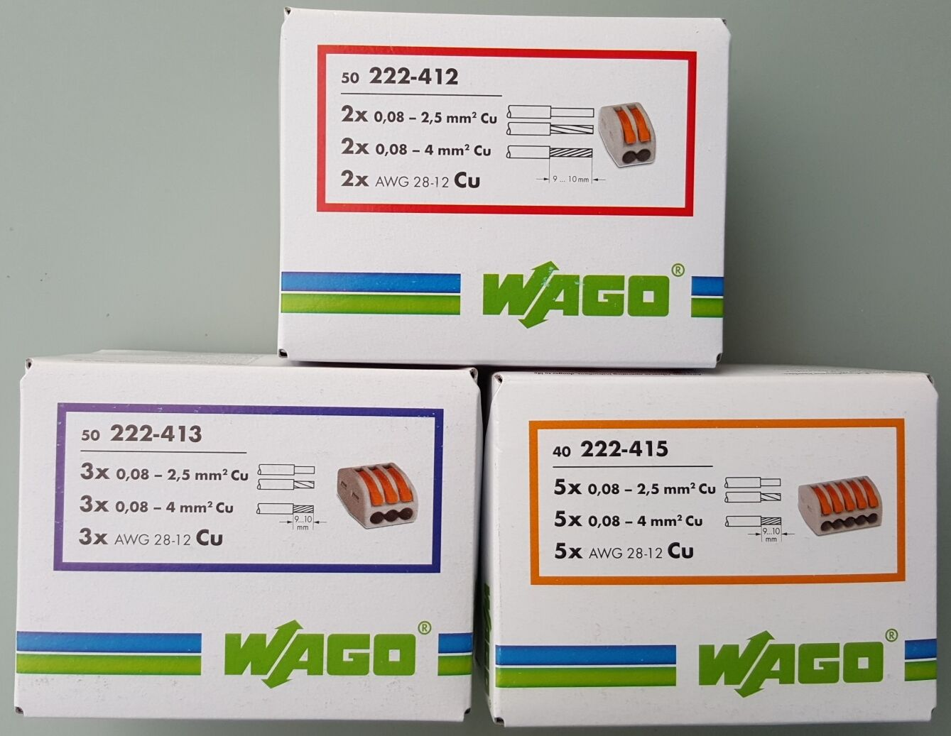 Wagoklemmen SET 50x222-412, 50x222-413, 40x 222-415,  Original WAGO Klemmen