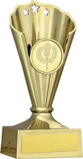 10 x 130mm gold Fan Multisport, Dance, Schools, Party Trophy (1989A 44) MUP