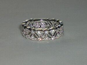 Victorian-Design-Ladies-Hallmarked-925-Silver-White-Sapphire-Full-Eternity-Ring