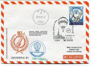 1981 Ballonpost N. 66 Pro Juventute Aerostato D-ergee Vii Wien Oevebria 81 Sign