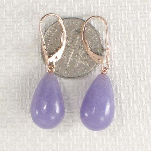 14k Rose Solid Gold Lever Back Dangle Raindrop Lavender Jade Earrings TPJ