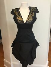 Alexander McQueen Samurai Embellished Shoulder Black Dress