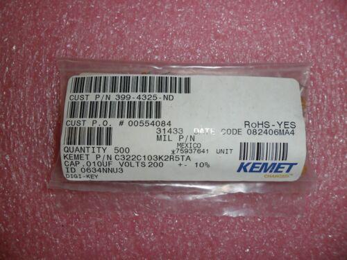 LOT OF 25 0.01uF 10nF 200V X7R 10/% RADIAL CERAMIC CAPACITOR C322C103K2R5TA