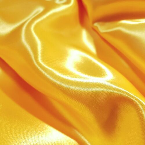 "CANARY YELLOW MEDIUM SATIN BRIDAL DRESS FABRIC 58/"" GLOSSY BY THE YARD GOLD"