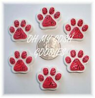 6pc Red Paw Tiger Stripe Flatback Resins 4 Football Cheer Hairbow Bow Dog Collar