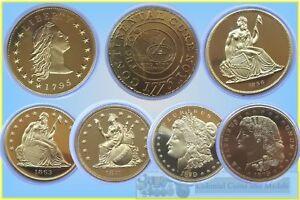 USA-Fantasy-Dollas-in-Gilt-Base-Metal-Total-7-Coins