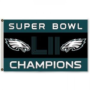 Philadelphia Eagles Super Bowl LII 52 Champions Banner Flag 3 X 5
