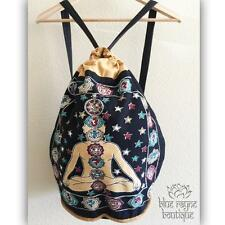 Fair Trade 7 Chakra OM Drawstring Black Cotton Canvas Hippie Yoga Backpack