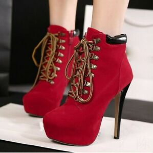 Women-039-s-Retro-Lace-Up-Platform-Shoes-Stilettos-High-Heels-Round-Toe-Ankle-Boots