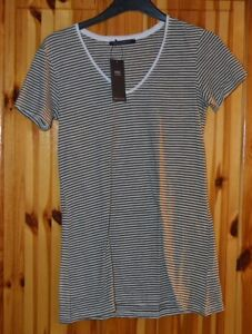 LADIES-SHORT-SLEEVE-M-amp-S-TOP-V-NECK-GREEN-AND-WHITE-STRIPE-IN-COLOUR-SIZE-16