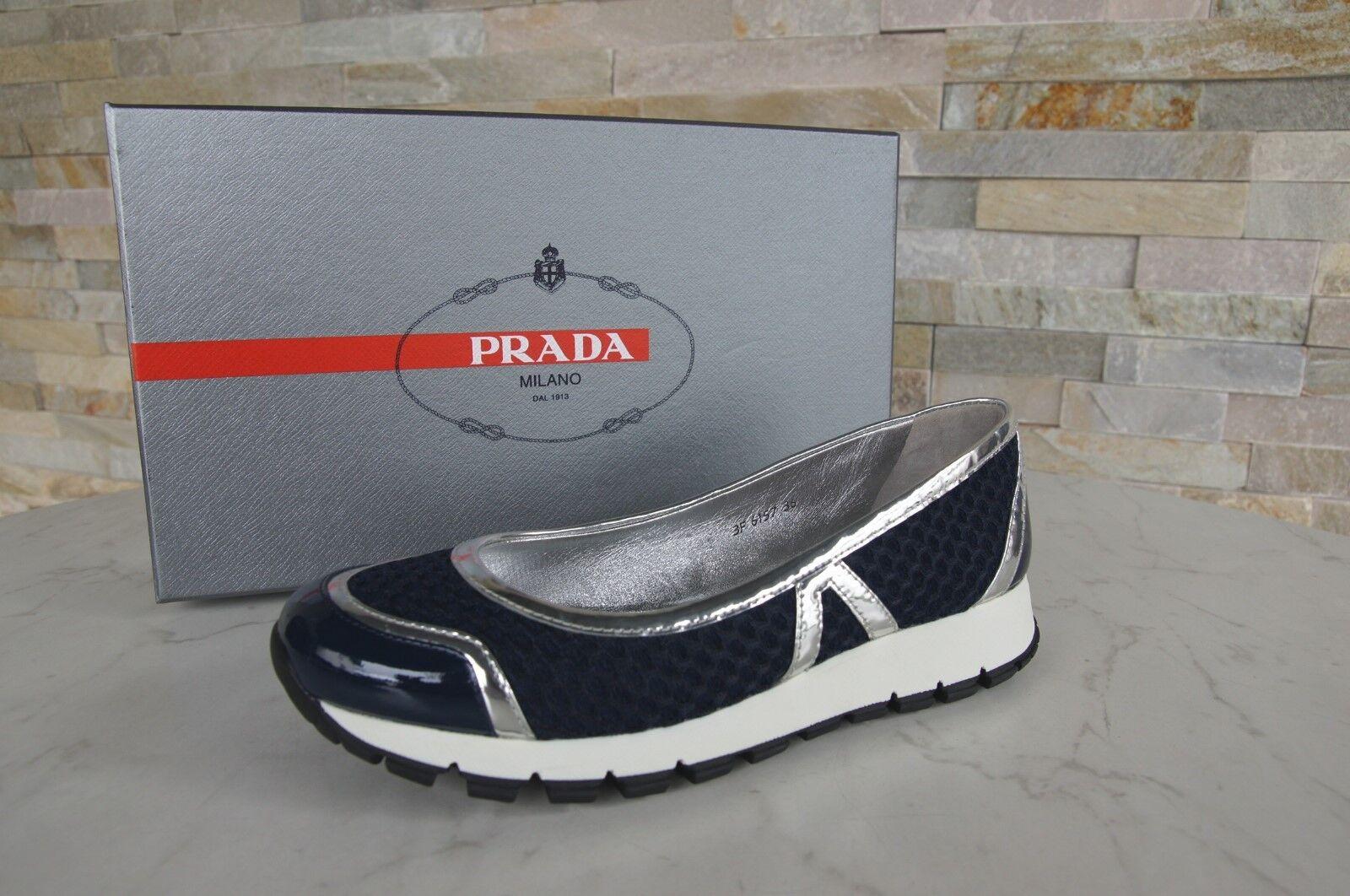 PRADA TAGLIA 38,5 Ballerine slipper scarpe  Argento vernice Bee  scarpe  62b692