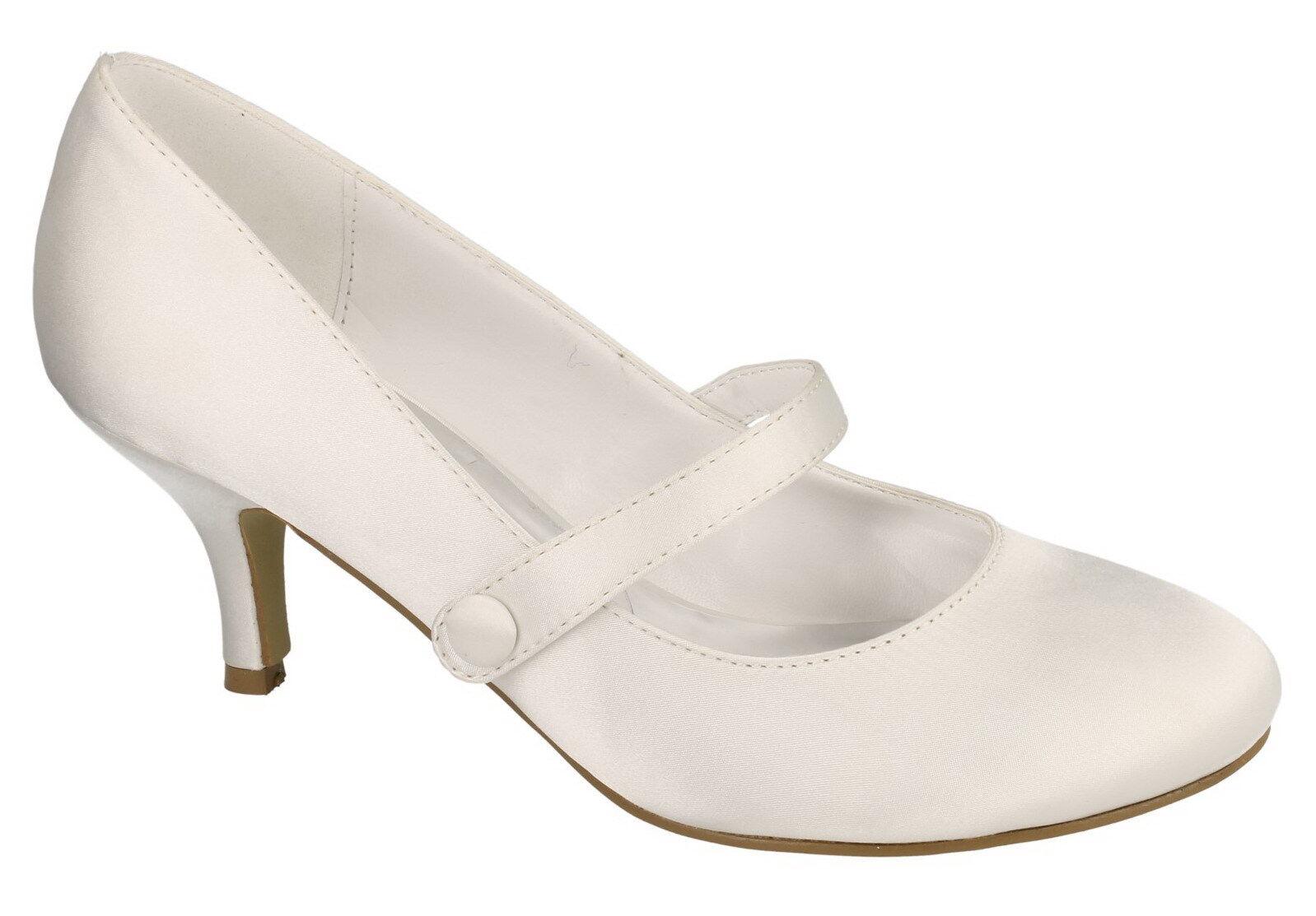 LADIES ANNE MICHELLE WHITE SATIN WEDDING SHOES F9753