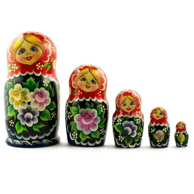 Set of 5 Blue Dress Girls Wooden Russian Nesting Dolls 7 Inches