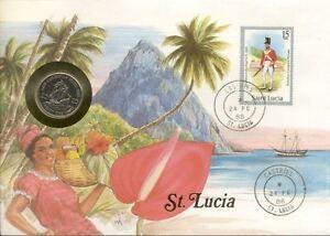 superbe-enveloppe-SAINTE-LUCIE-ST-LUCIA-piece-monnaie-25-CTS-1981-UNC-NEW-timbre