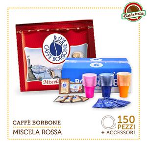 150-Cialde-Caffe-Borbone-Miscela-Rossa-Red-Rosso-Filtrocarta-44-Kit-accessori