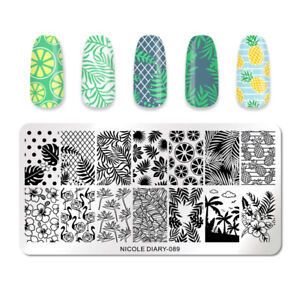 NICOLE-DIARY-Nail-Stamping-Plates-Tropical-Rectangle-Nail-Art-Stamp-Stencil-089