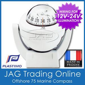 PLASTIMO OFFSHORE 75 WHITE BRACKET MOUNT MARINE/BOAT COMPASS 12V-24V Lighting