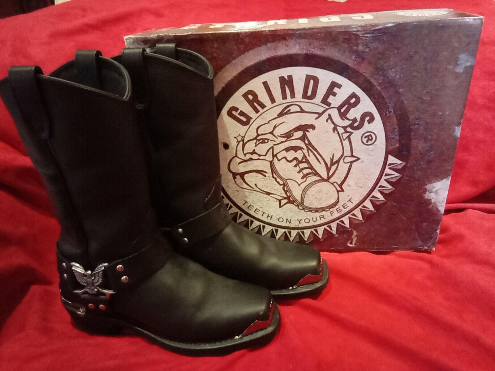 Grinder Eagle Hi Boots Black Leather Size 9 / 42 Worn once in Box (1579)