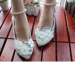 Decolté decolte scarpe donna ballerina bianco sposa pizzo 3.5, 4.5 8.5, 11 cm