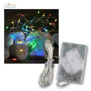 LED-Lichterkette-Draht-Drahtlichterkette-Timer-40-LEDs-bunt-Batteriebetrieb