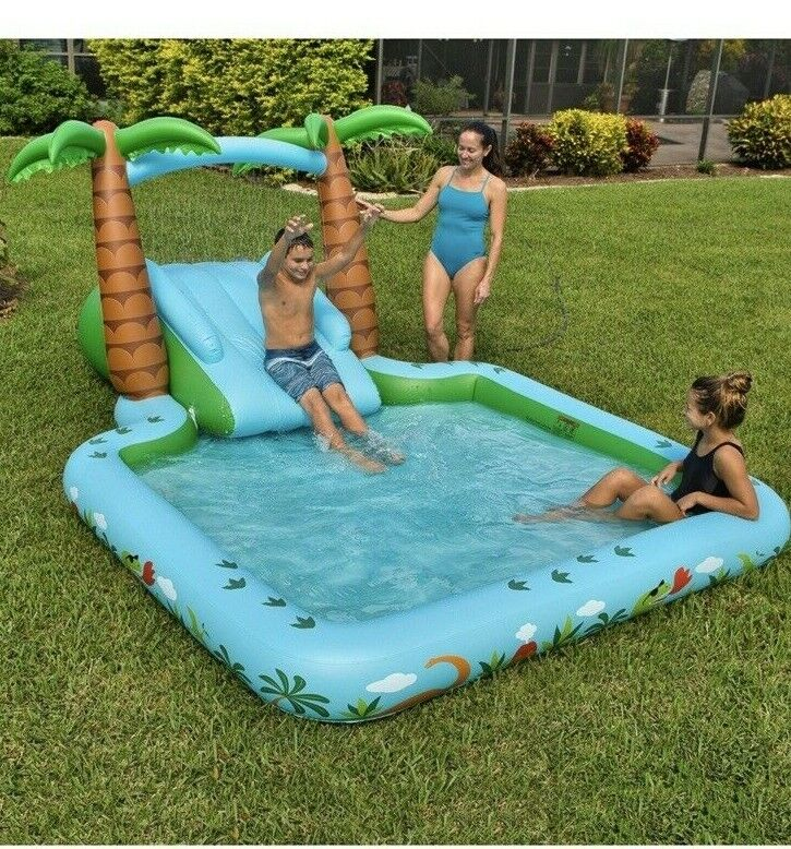 Kid's Dinosaur Themed Novelty Pool With A Two-Step Slide & Water Spray Arch