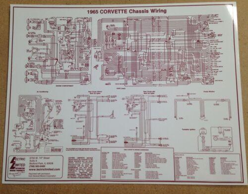 Brand New 1965 Corvette Laminated Chassis Wiring Chart