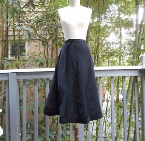 Vintage-MADELENE-Black-1920-039-s-Crepe-Satin-Wrap-Skirt-PARIS-XS-42-RARE