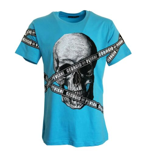 Men/'s GEORGIO PEVIANI Skull Repeat Tape Short Sleeve T-Shirt Casual Top Tee