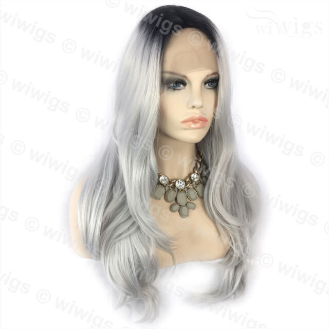 Wiwigs Ombre 2 Tones Lace Front Wig Straight Dark Roots Long Silver