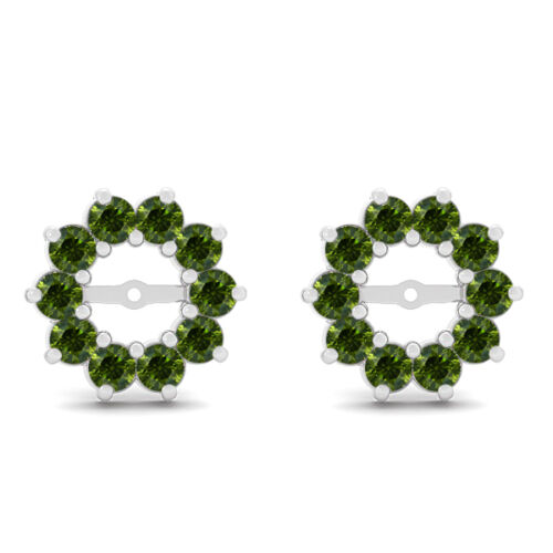 0.60 Carat Green Round Diamond Solitaire Stud Earring Jacket Halo 14K White Gold