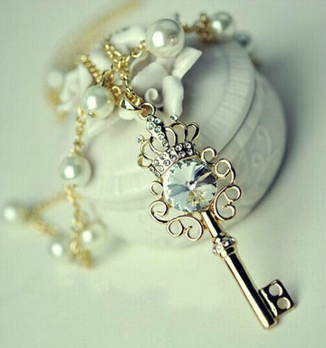 HOT Jewelry Key Crown Pearl Elegant Noble Pretty Pendant Necklace Sweater Chain