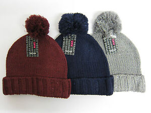 LADIES RJM ACCESSORIES KNITTED SEQUIN BOBBLE HATS NAVY GREY BURGUNDY ... a54276d23a0