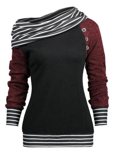 Fashion Women Lady Tops Stripe Trim Skew Neck Long Sleeve Knitted Collar T-Shirt