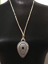 LUCKY BRAND Silver-Tone Teardrop Pendant & Leather Necklace NWT L@@K Fast Ship!!
