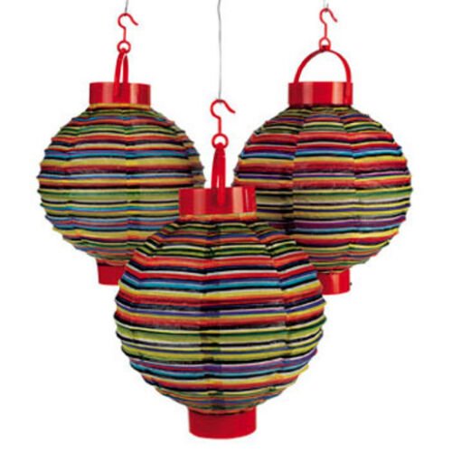 """3 Light Up 8/"""" Fiesta Lanterns Cinco De Mayo Mexican Spanish Party Decorations"""