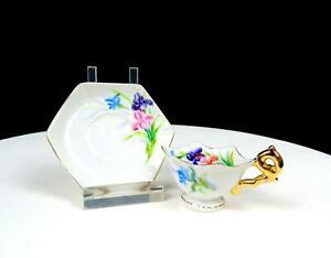 """JAPANESE PORCELAIN HAND PAINTED FLORAL GOLD TRIM MINI SCALLOPED 2"""" CUP & SAUCER"""