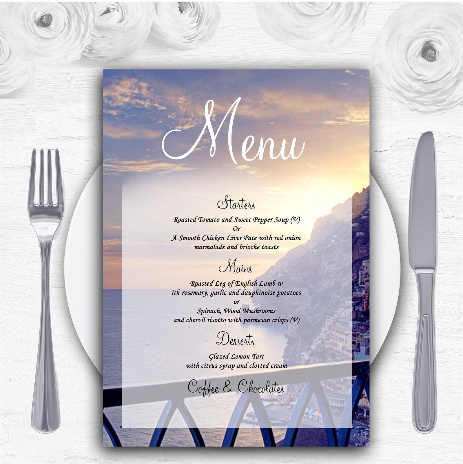The Amalfi Coast  Personalised Wedding Menu Cards