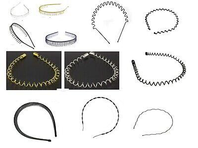 Narrow Metal Wire Comb Football Sports Alice Band Hair Headband Black or Silver