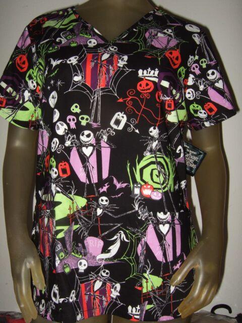 womens the nightmare before christmas jack skulls rip nurses scrubs shirt disney