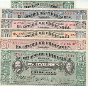 Mexico: Set of 6 Collection El Estado de Chihuahua Feb 10, 1914 UNC.